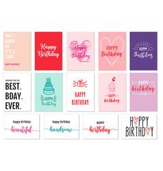 birthday cards set birthday cards set vector image vector image