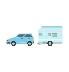 Car Pulling The Trailer Family Motorhome Flat vector image
