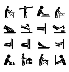 Carpenter Icons Black vector image