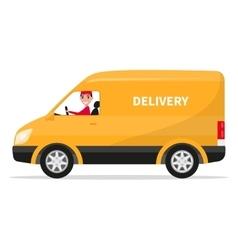 cartoon delivery van truck with deliveryman vector image
