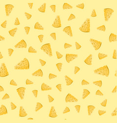 Cheese slices seamless pattern on yellow vector