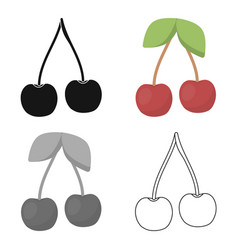 Cherry icon cartoon singe fruit icon vector