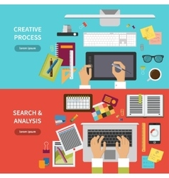 Creative process search and analysis concept set vector image