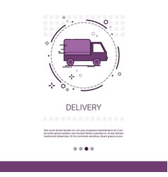 Delivery service truck web banner with copy space vector