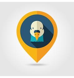 Dove flat pin map icon Animal head symbol vector image vector image