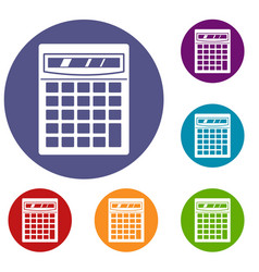 electronic calculator icons set vector image