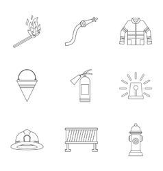 Fire icons set outline style vector