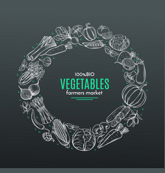 frame with hand drawn vegetables vector image vector image