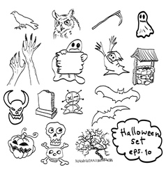 Halloween objects icon set vector image