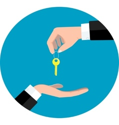 Hand giving key vector image vector image