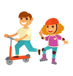 Happy children girl and boy skating roller scooter vector