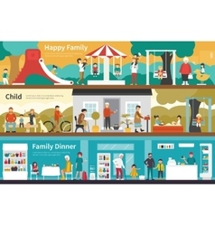 Happy Family Child Dinner flat interior outdoor vector image