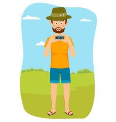 happy tourist photographer man standing outdoors vector image vector image