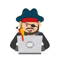internet pirate with a laptop computer and parrot vector image vector image