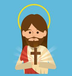 Jesus christ religious character vector