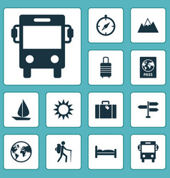 Journey icons set collection of doss certificate vector