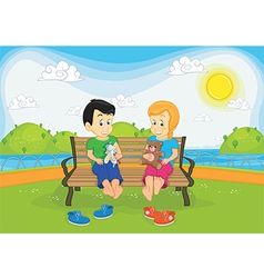 Kids sitting on bench vector image vector image