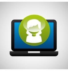 laptop icon character girl social media vector image