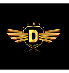 Letter d winged crests logo alphabet logotype vector