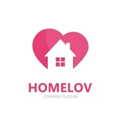 logo combination of a heart and house vector image vector image