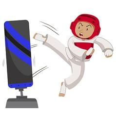 Man athlete practicing taekwondo vector