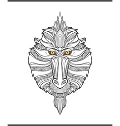 Monkey coloring outlines in boho style ethnic hare vector