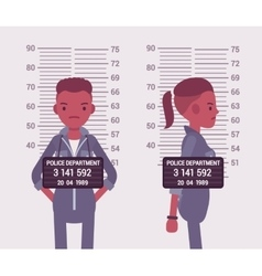 Mugshot of a young black woman vector image vector image