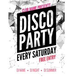 Night dance disco party design template in vector