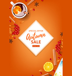 Orange flyer for autumn seasonal sale vector