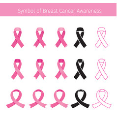 Pink ribbon symbol breast cancer awareness vector