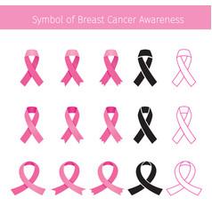 pink ribbon symbol breast cancer awareness vector image
