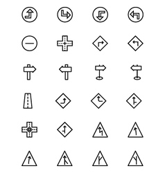 Road outline icons 2 vector