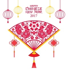 Roosters papercut fan chinese new year 2017 vector