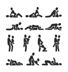 Sexual position icons sex positioning vector