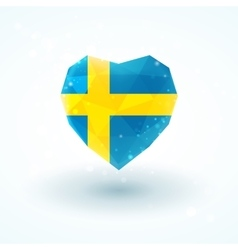 Sweden flag in shape diamond glass heart vector