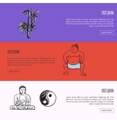 Visit japan touristic web banners set vector