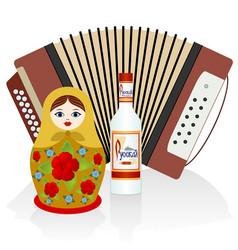 vodka accordion matryoshka vector image vector image