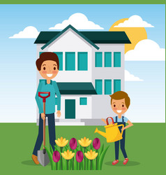 Woman and boy watering flowers garden home vector