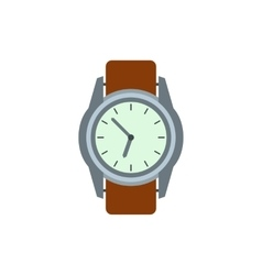 Wrist watch with brown leather strap icon vector