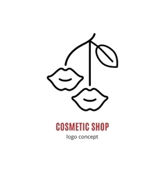 Lips lipstick cosmetics and beauty logo concept vector