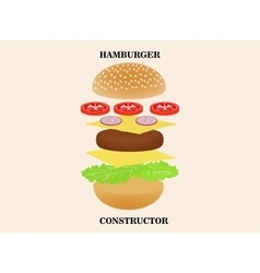 Hamburger or burger constructor isolated on vector