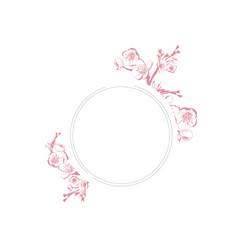 Vintage spring blossom flower round frame vector