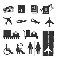 Airline colourless signs set passports and vector