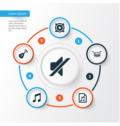 Music icons set collection of barrel file vector