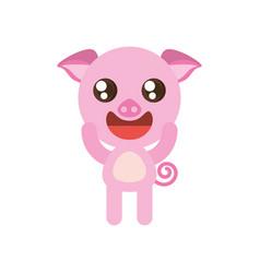 kawaii piggy animal toy vector image