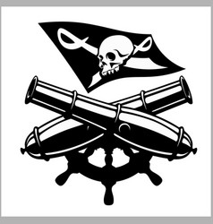 Piracy flag and crossed canon vector