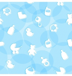 Sweet seamless pattern with baby items vector