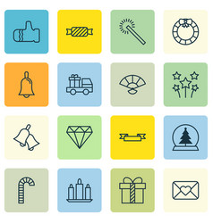 Set of 16 celebration icons includes ringer vector