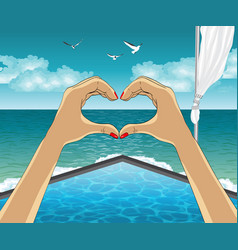 Heart shape from the hands on luxury resort vector