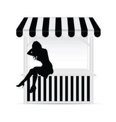 Street stall with girl silhouette vector
